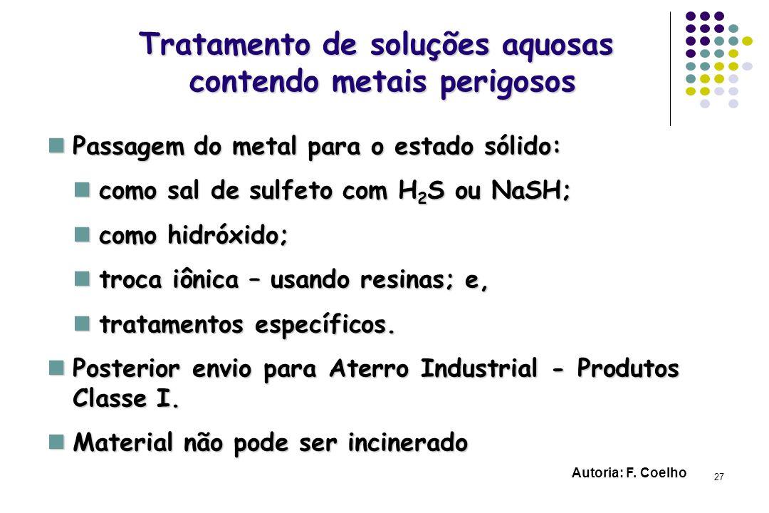 Tratamento de soluções aquosas contendo metais perigosos