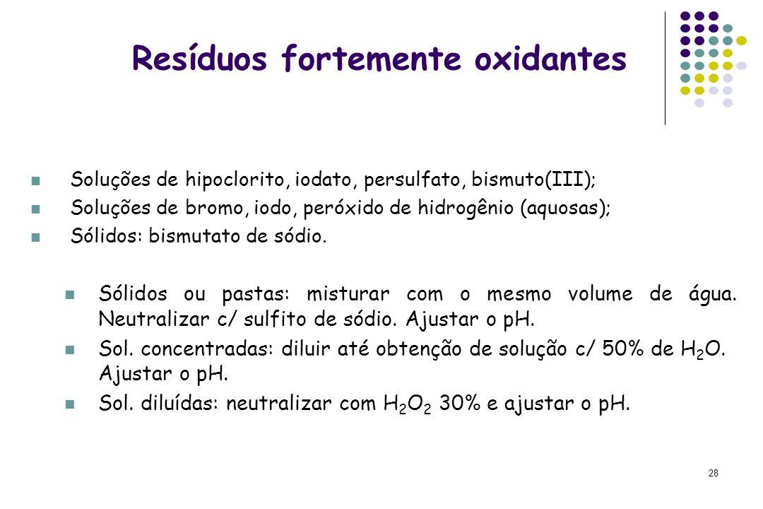 Resíduos fortemente oxidantes