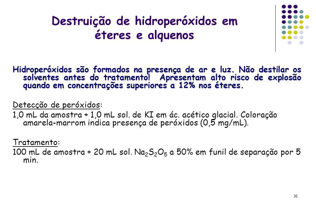 Destruição de hidroperóxidos em éteres e alquenos