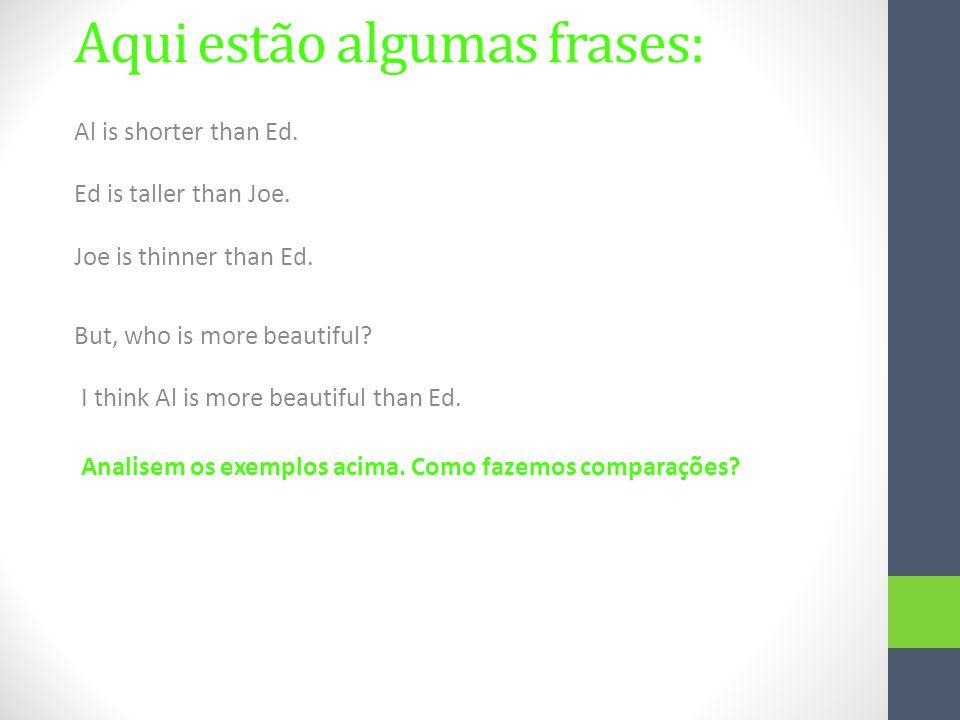 Aqui estão algumas frases: