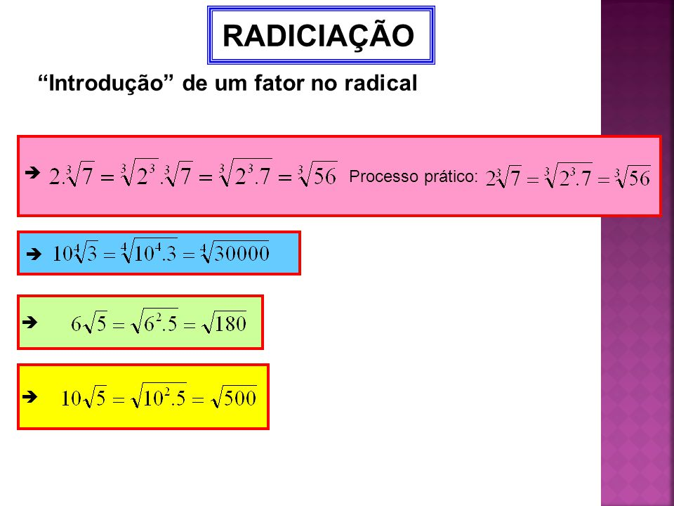 Introdução de um fator no radical
