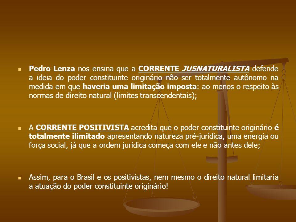 Pedro Lenza nos ensina que a CORRENTE JUSNATURALISTA defende a ideia do poder constituinte originário não ser totalmente autônomo na medida em que haveria uma limitação imposta: ao menos o respeito às normas de direito natural (limites transcendentais);