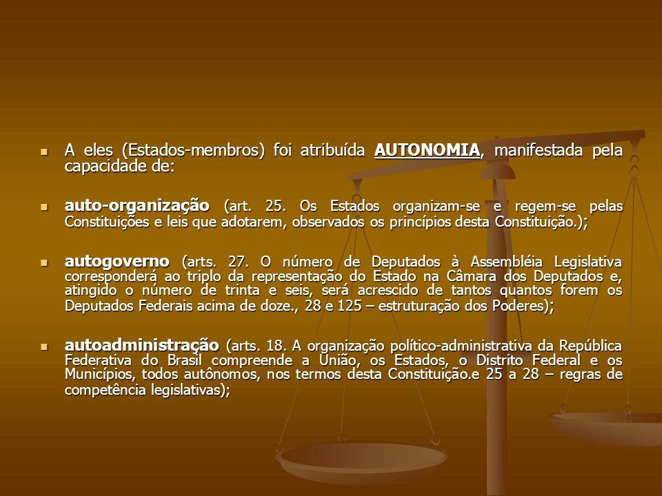 A eles (Estados-membros) foi atribuída AUTONOMIA, manifestada pela capacidade de: