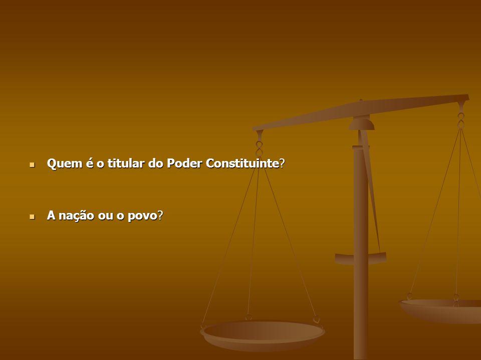 Quem é o titular do Poder Constituinte