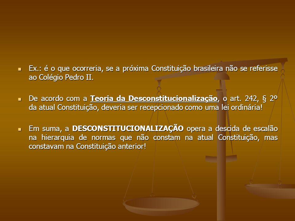 Ex.: é o que ocorreria, se a próxima Constituição brasileira não se referisse ao Colégio Pedro II.