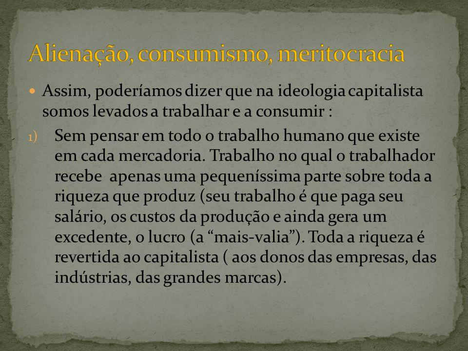 Alienação, consumismo, meritocracia