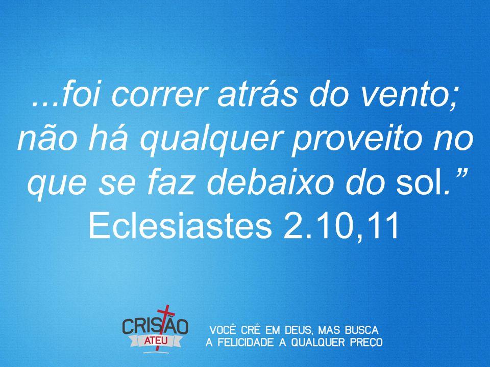 ...foi correr atrás do vento; não há qualquer proveito no que se faz debaixo do sol. Eclesiastes 2.10,11