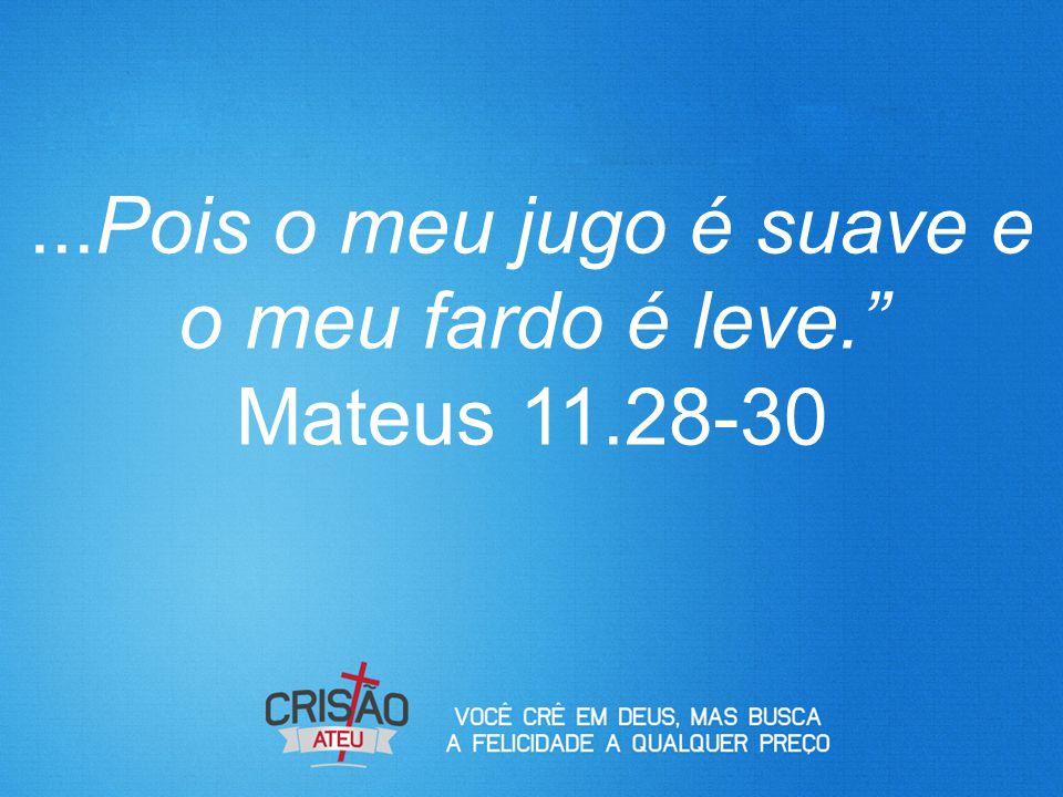 ...Pois o meu jugo é suave e o meu fardo é leve. Mateus 11.28-30