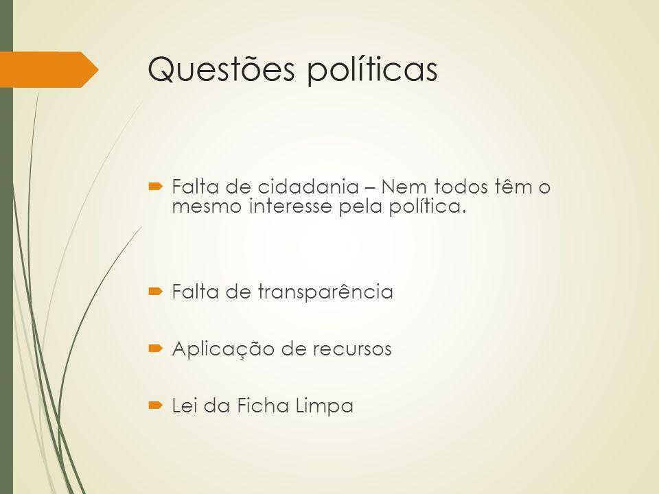 Questões políticas Falta de cidadania – Nem todos têm o mesmo interesse pela política. Falta de transparência.
