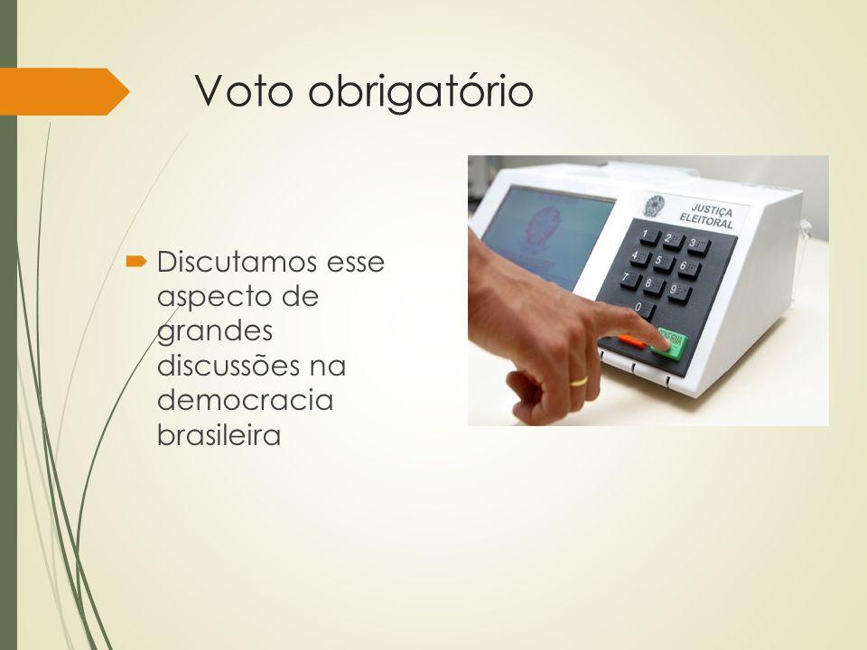 Voto obrigatório Discutamos esse aspecto de grandes discussões na democracia brasileira