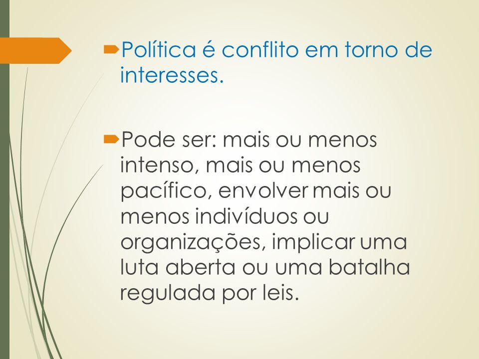 Política é conflito em torno de interesses.