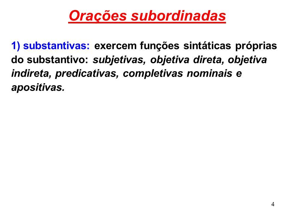 Orações subordinadas 1) substantivas: exercem funções sintáticas próprias. do substantivo: subjetivas, objetiva direta, objetiva.