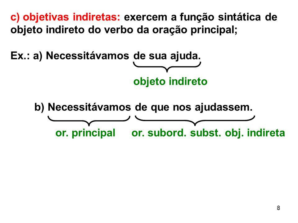 c) objetivas indiretas: exercem a função sintática de objeto indireto do verbo da oração principal;