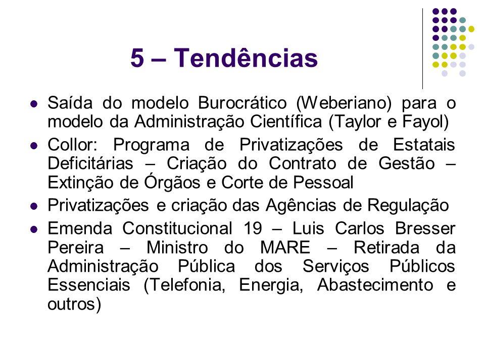 5 – Tendências Saída do modelo Burocrático (Weberiano) para o modelo da Administração Científica (Taylor e Fayol)