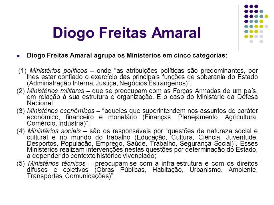 Diogo Freitas Amaral Diogo Freitas Amaral agrupa os Ministérios em cinco categorias: