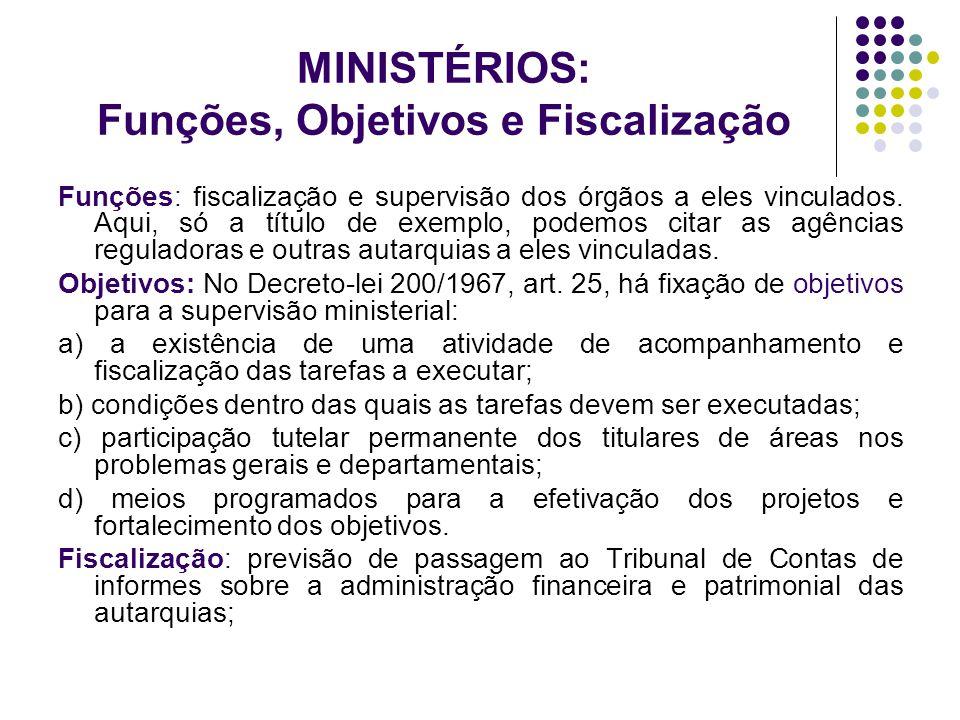 MINISTÉRIOS: Funções, Objetivos e Fiscalização