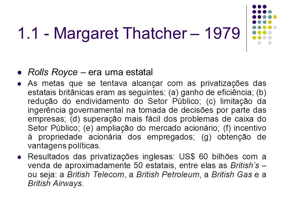 1.1 - Margaret Thatcher – 1979 Rolls Royce – era uma estatal