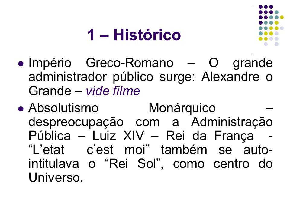 1 – Histórico Império Greco-Romano – O grande administrador público surge: Alexandre o Grande – vide filme.