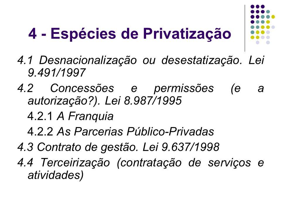 4 - Espécies de Privatização