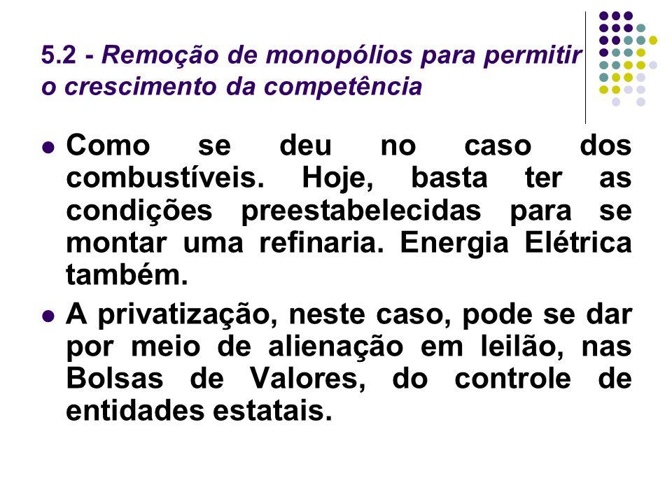 5.2 - Remoção de monopólios para permitir o crescimento da competência
