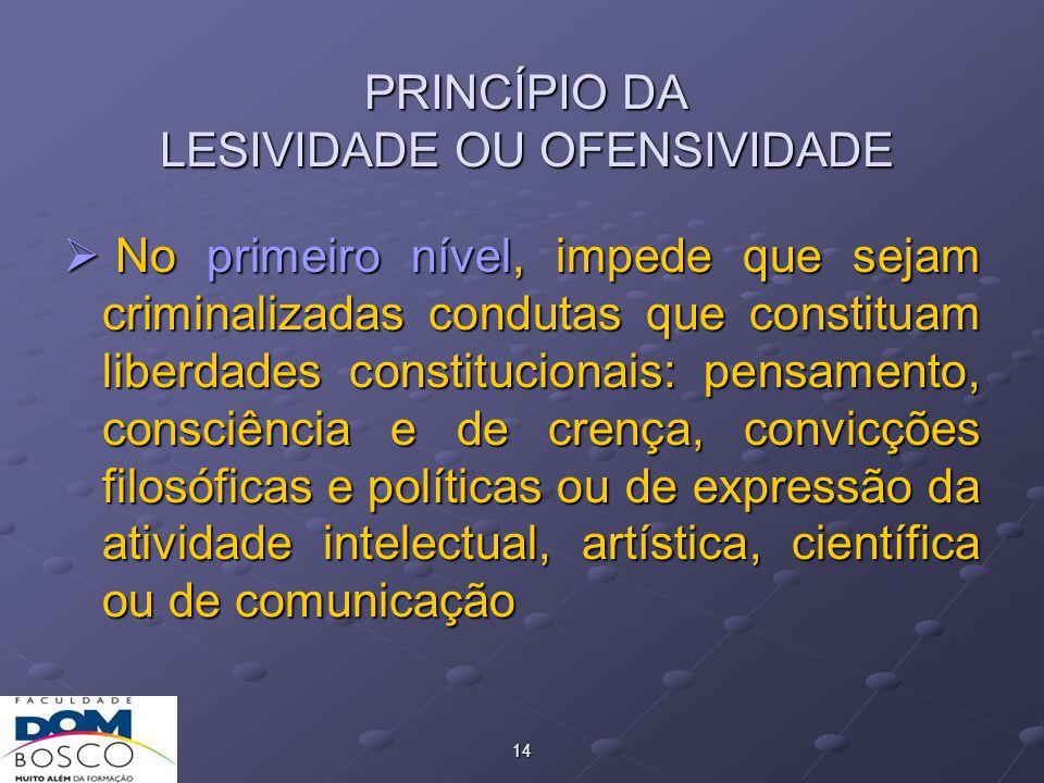 PRINCÍPIO DA LESIVIDADE OU OFENSIVIDADE