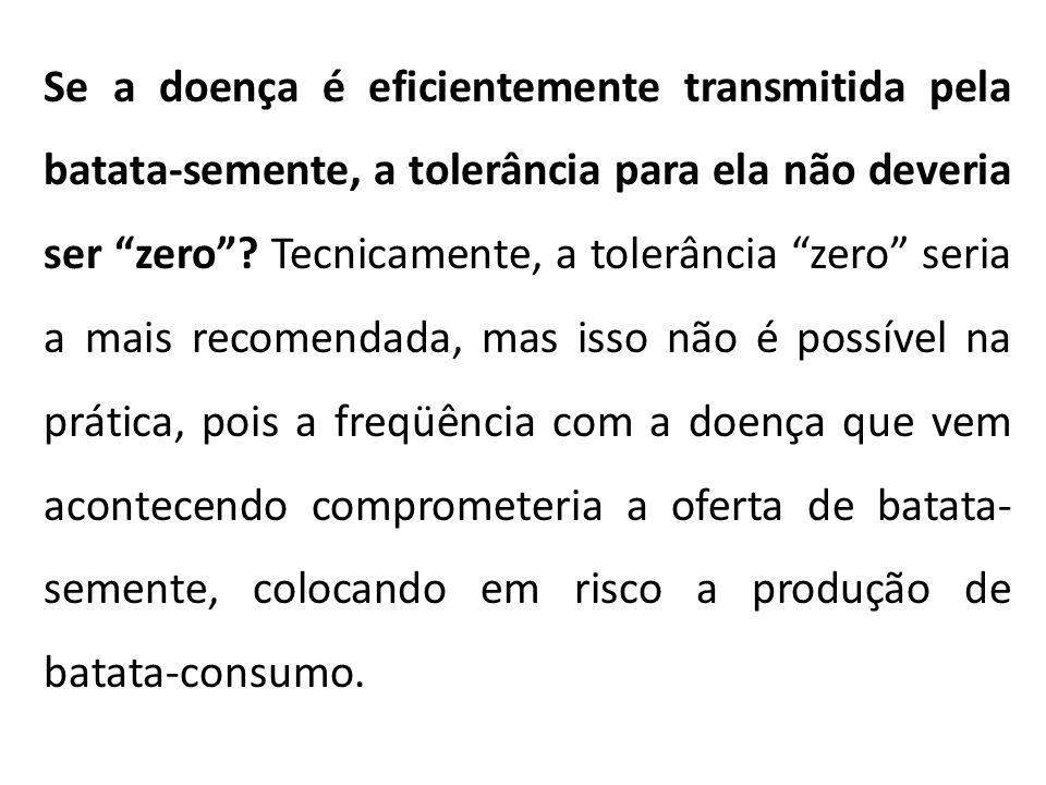 Se a doença é eficientemente transmitida pela batata-semente, a tolerância para ela não deveria ser zero .