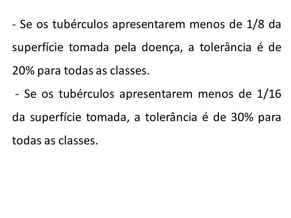 - Se os tubérculos apresentarem menos de 1/8 da superfície tomada pela doença, a tolerância é de 20% para todas as classes.