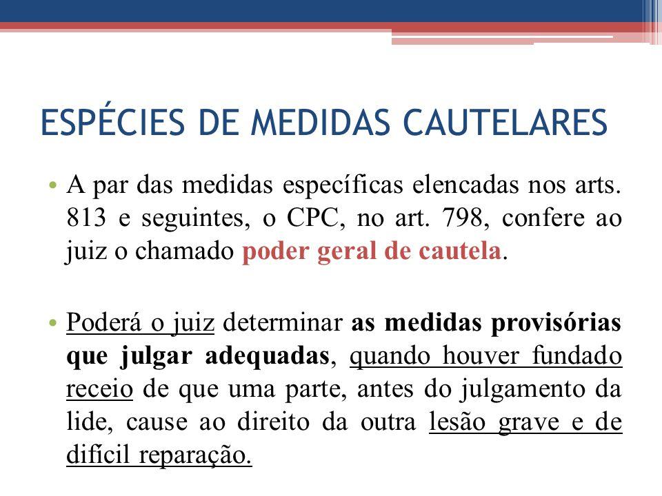 ESPÉCIES DE MEDIDAS CAUTELARES