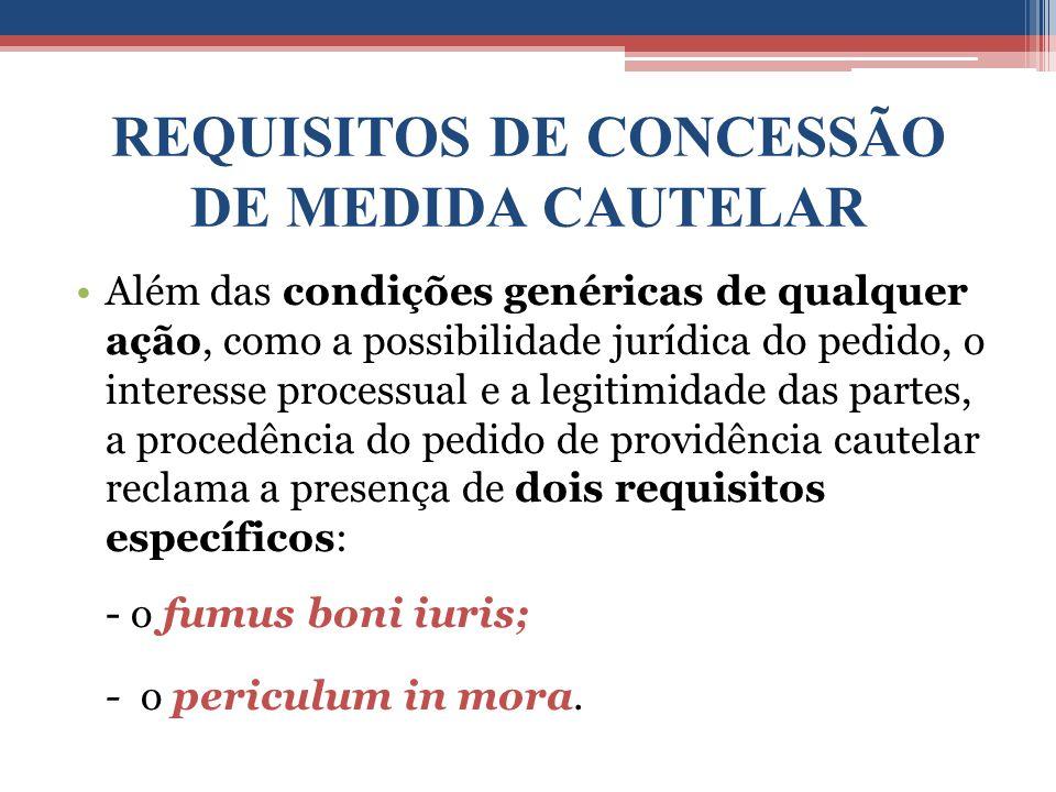 REQUISITOS DE CONCESSÃO DE MEDIDA CAUTELAR
