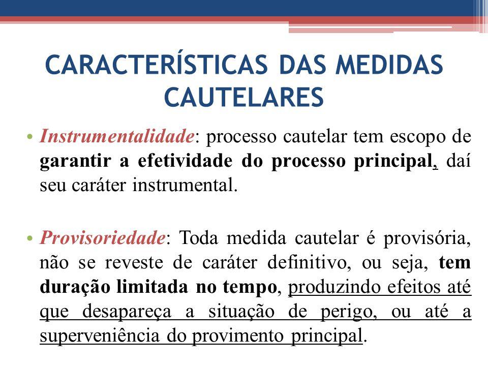 CARACTERÍSTICAS DAS MEDIDAS CAUTELARES