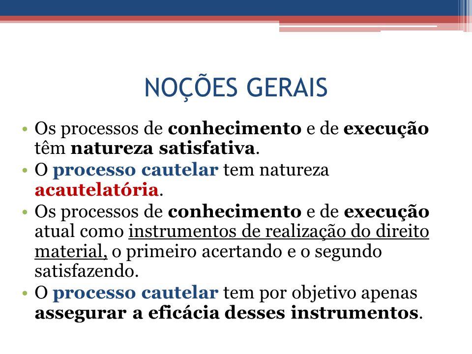 NOÇÕES GERAIS Os processos de conhecimento e de execução têm natureza satisfativa. O processo cautelar tem natureza acautelatória.