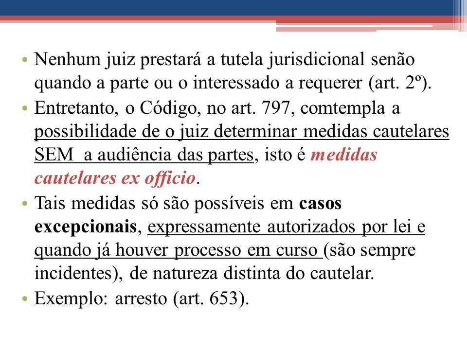 Nenhum juiz prestará a tutela jurisdicional senão quando a parte ou o interessado a requerer (art. 2º).