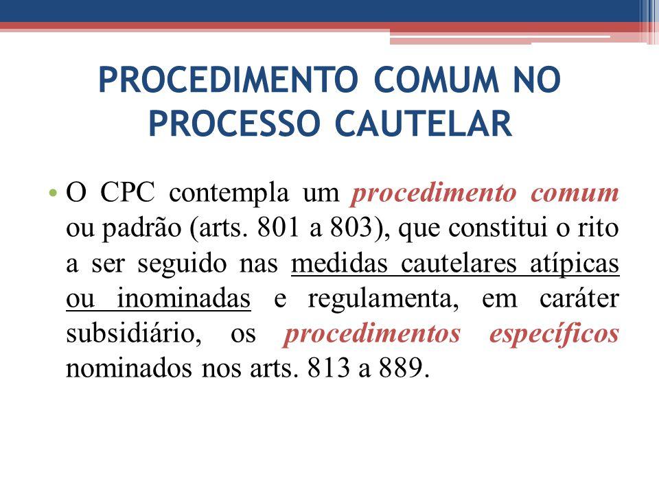 PROCEDIMENTO COMUM NO PROCESSO CAUTELAR