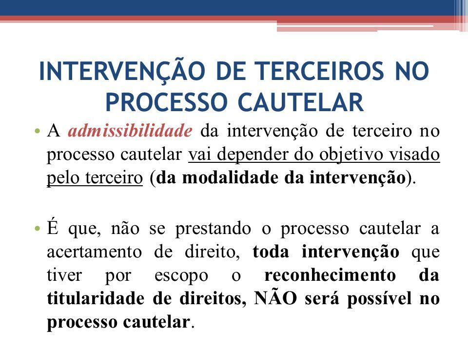 INTERVENÇÃO DE TERCEIROS NO PROCESSO CAUTELAR