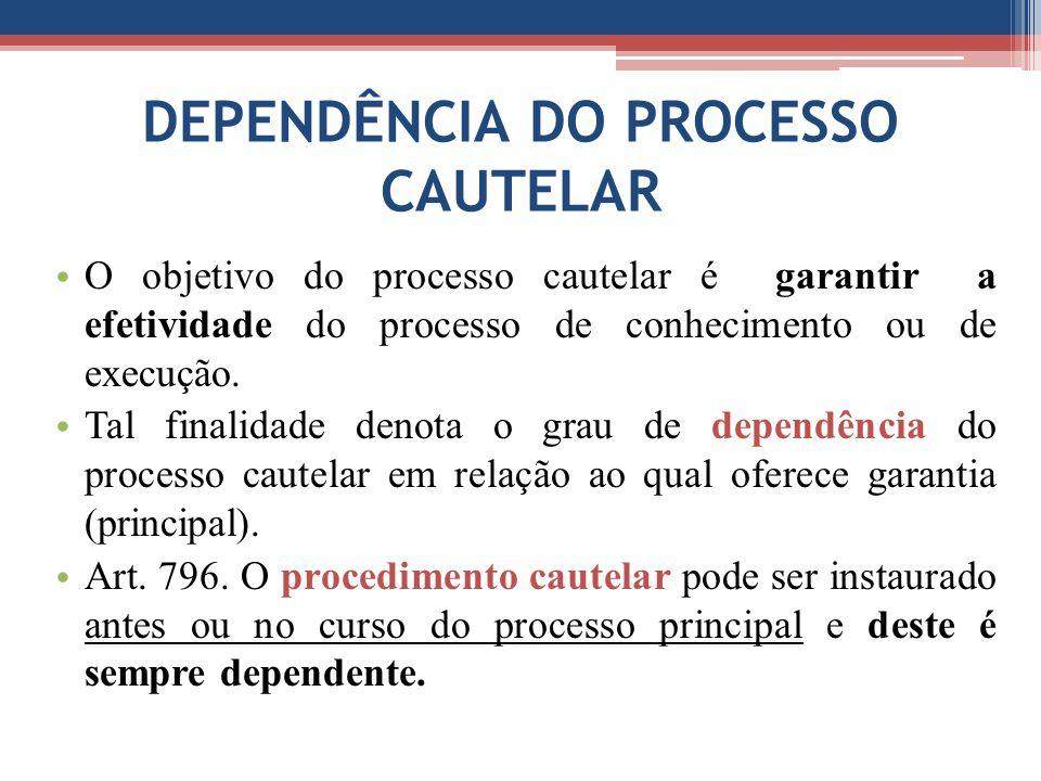 DEPENDÊNCIA DO PROCESSO CAUTELAR