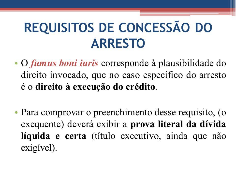 REQUISITOS DE CONCESSÃO DO ARRESTO