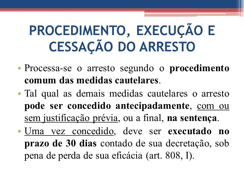 PROCEDIMENTO, EXECUÇÃO E CESSAÇÃO DO ARRESTO