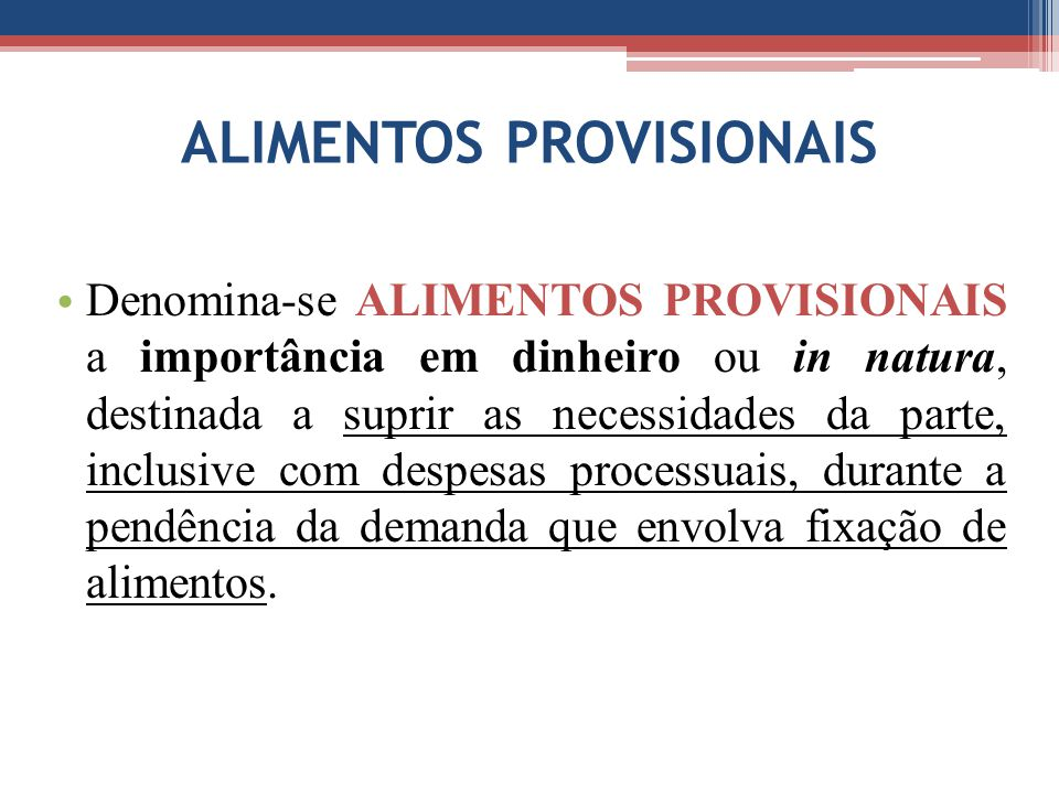 ALIMENTOS PROVISIONAIS