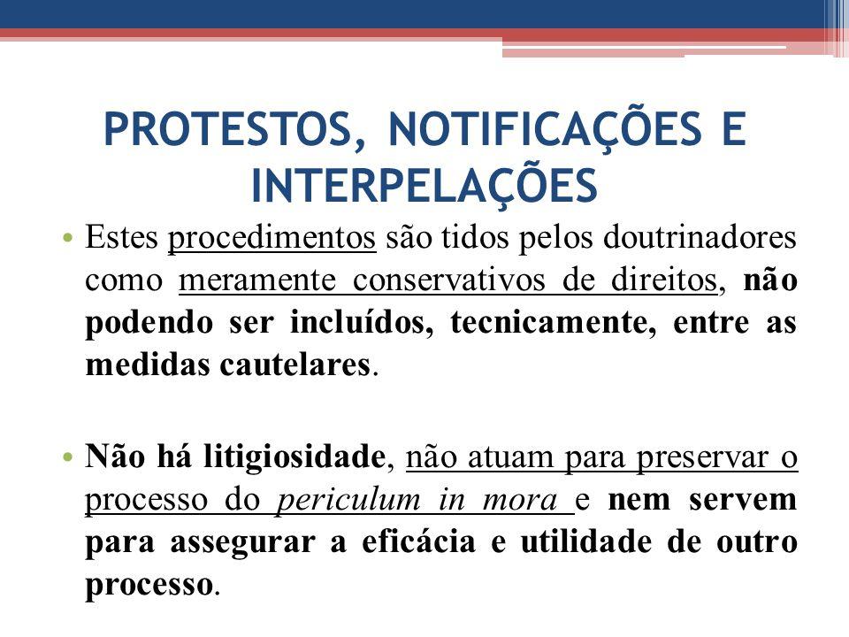 PROTESTOS, NOTIFICAÇÕES E INTERPELAÇÕES