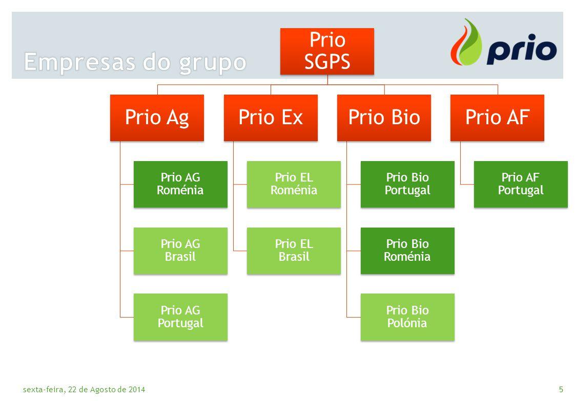 Empresas do grupo Prio AG Roménia Prio AG Brasil Prio AG Portugal