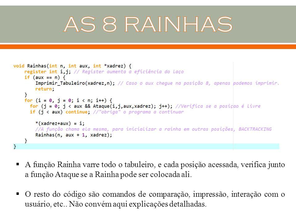 AS 8 RAINHAS A função Rainha varre todo o tabuleiro, e cada posição acessada, verifica junto a função Ataque se a Rainha pode ser colocada ali.