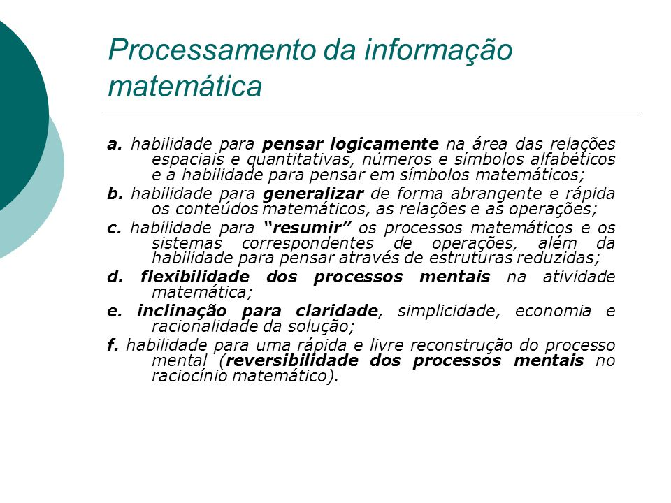 Processamento da informação matemática