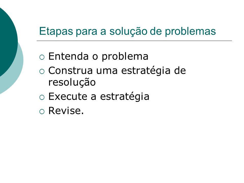 Etapas para a solução de problemas
