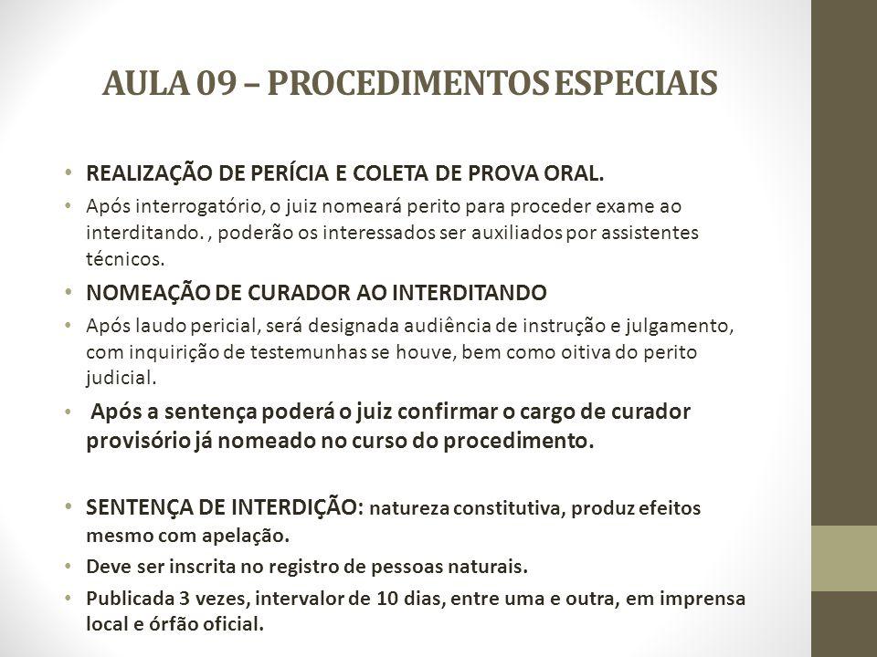 AULA 09 – PROCEDIMENTOS ESPECIAIS