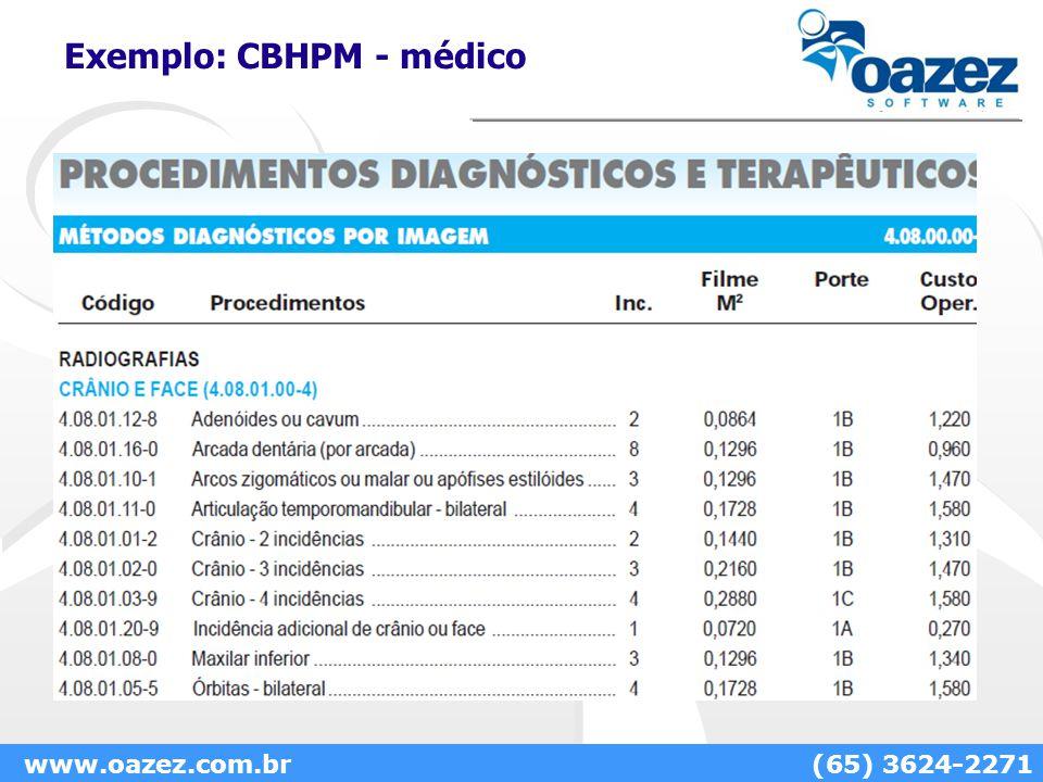Exemplo: CBHPM - médico