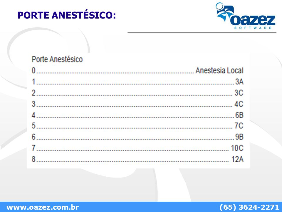 PORTE ANESTÉSICO: www.oazez.com.br (65) 3624-2271