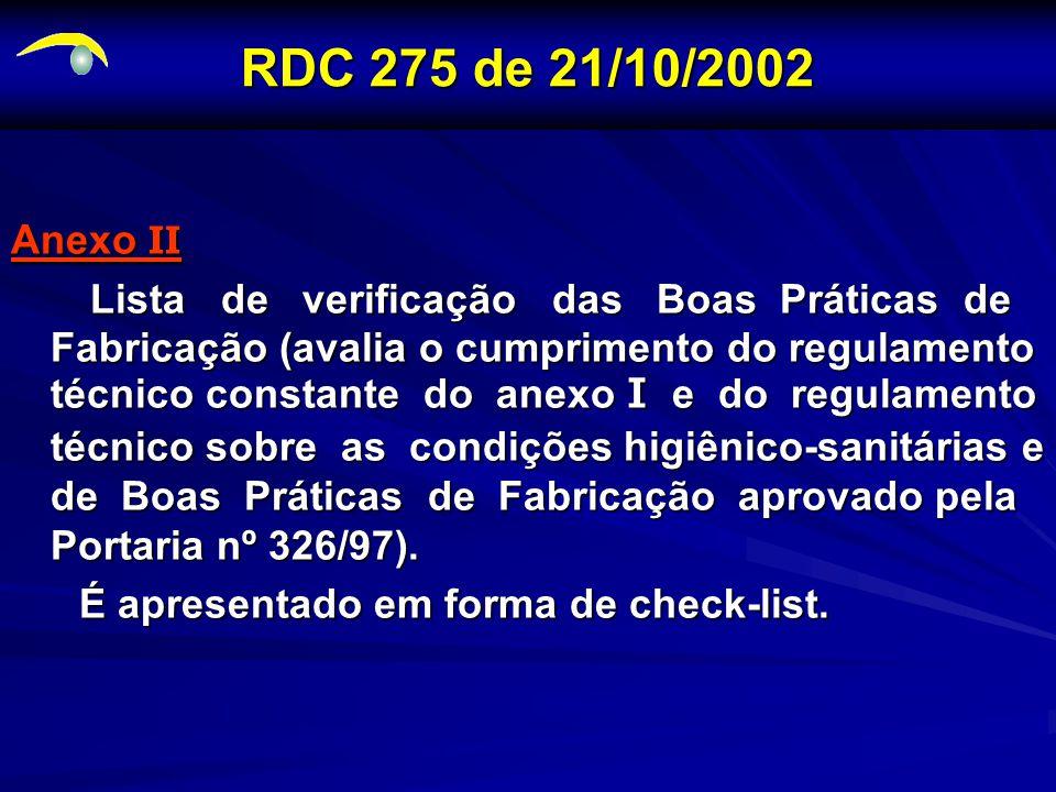 RDC 275 de 21/10/2002 RDC 275 de 21/10/2002 Anexo II