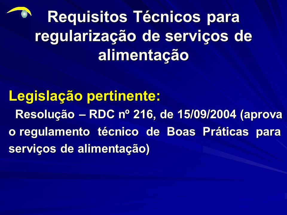 Requisitos Técnicos para regularização de serviços de alimentação