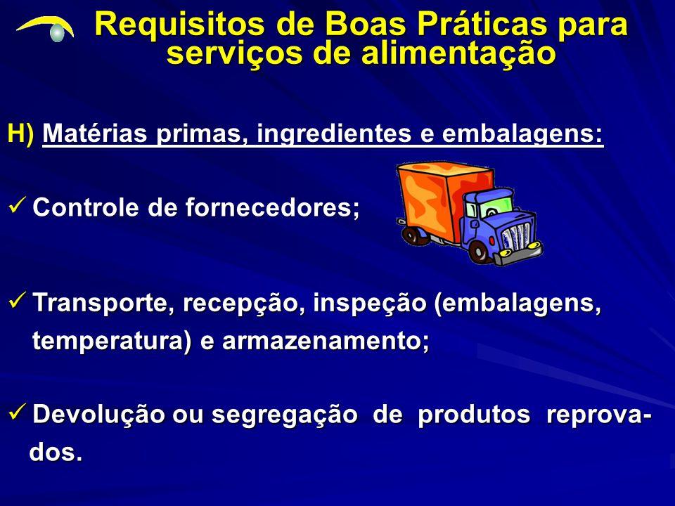Requisitos de Boas Práticas para serviços de alimentação