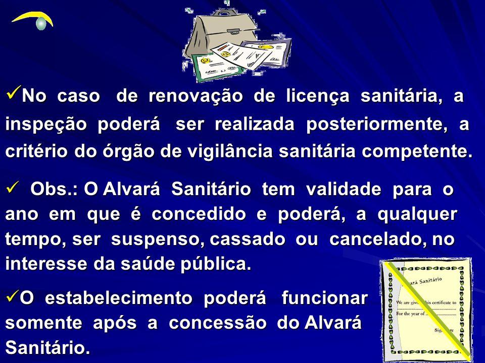 No caso de renovação de licença sanitária, a inspeção poderá ser realizada posteriormente, a critério do órgão de vigilância sanitária competente.